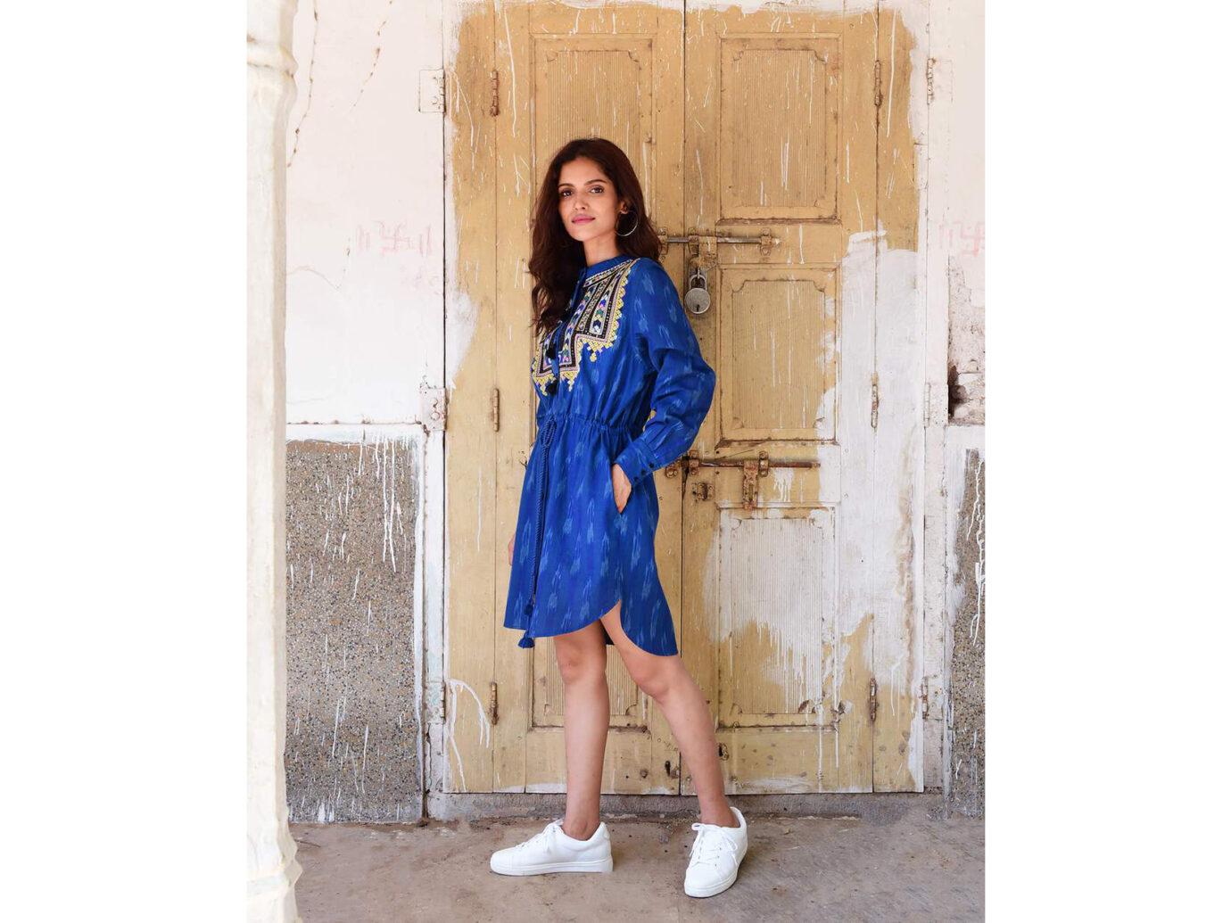 Souk Indigo Linen Ikat Clara Dress