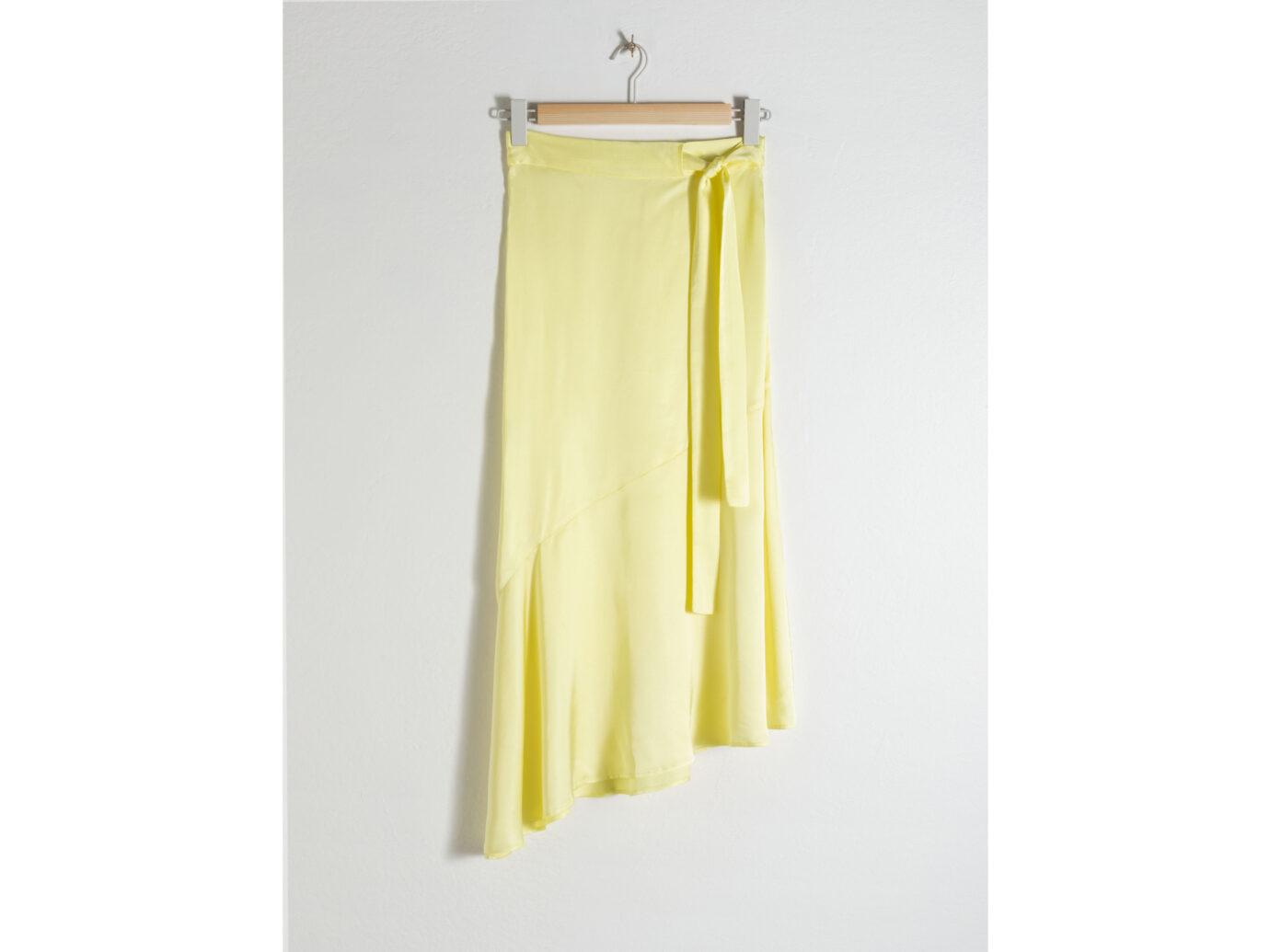 Asymmetric Satin Midi Skirt