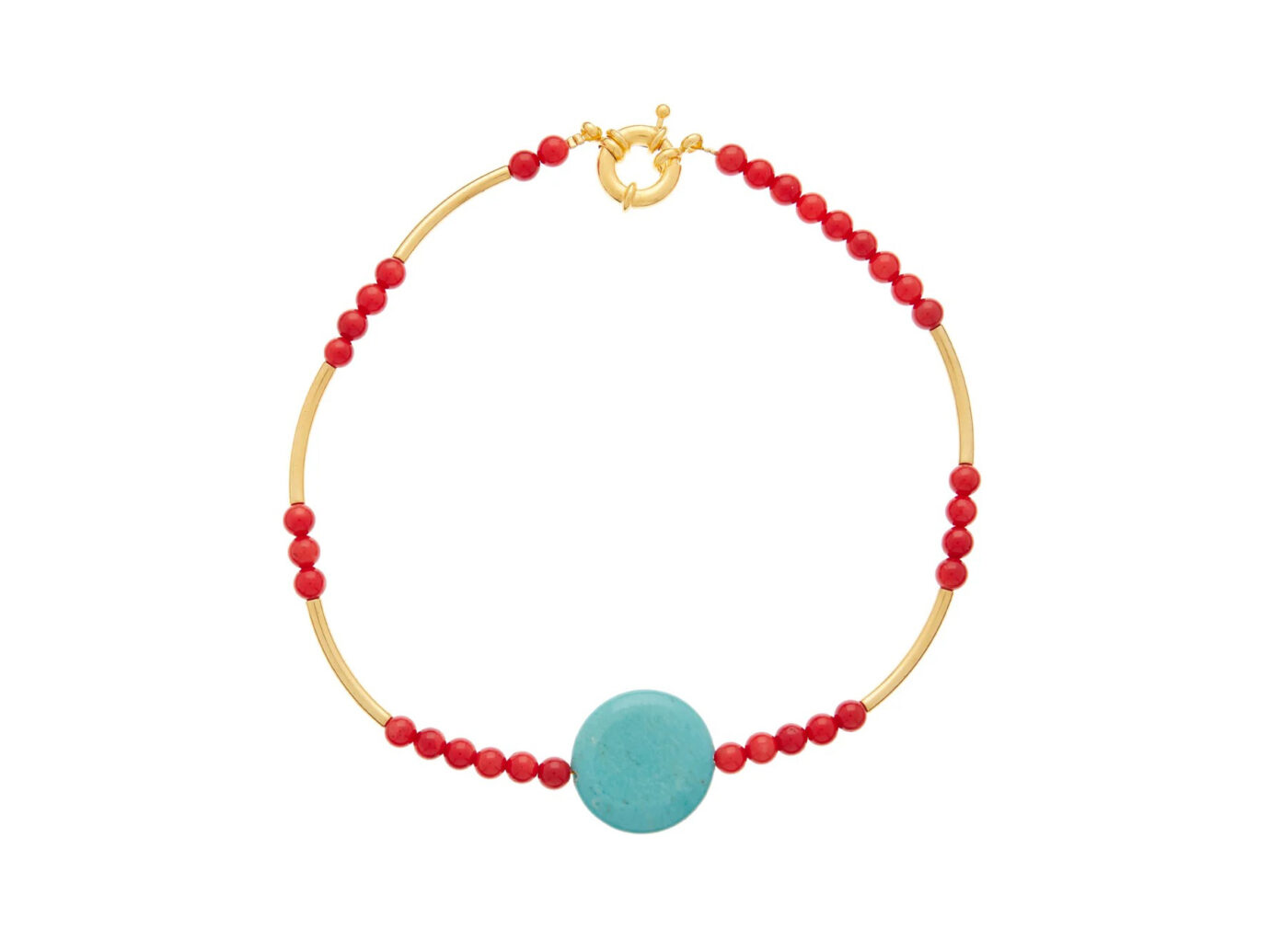 Timeless Pearly Turquoise & gold-plated choker necklace