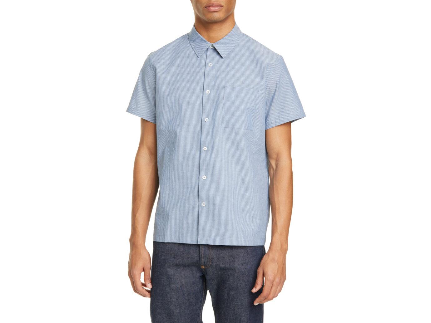 A.P.C. Bruce Pinstripe Short Sleeve Button-Up Shirt