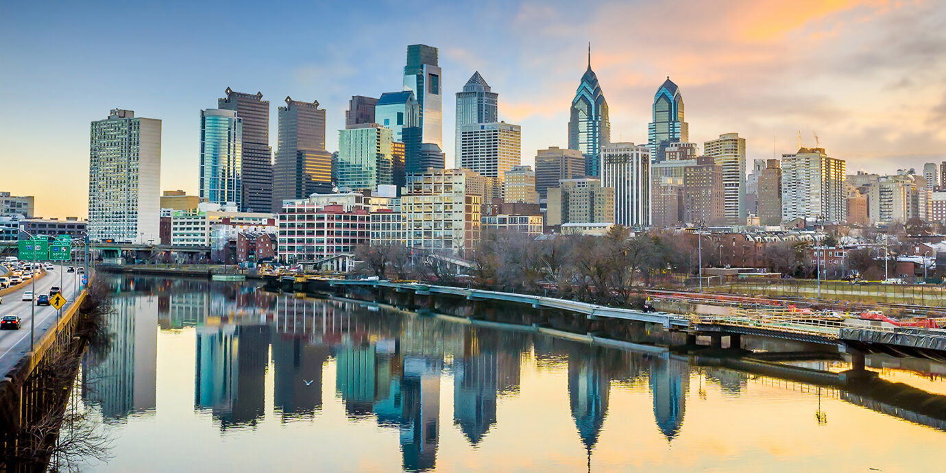 Downtown Skyline of Philadelphia, Pennsylvania at twilight in USA