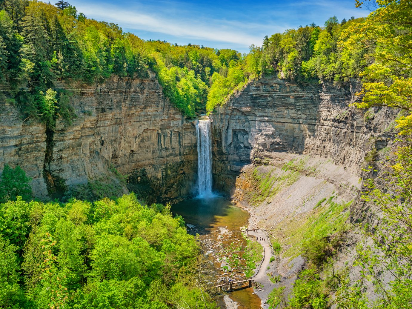 Taughannock Falls State Park near Ithaca New York, USA on a sunny day.