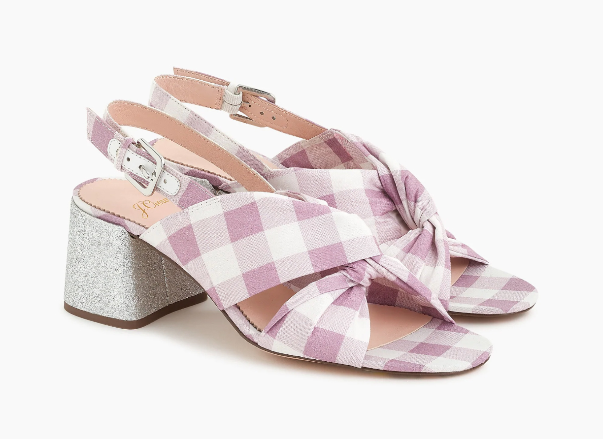 J.Crew Twisted Knot Penny Sandals in Gingham with Glitter Heel