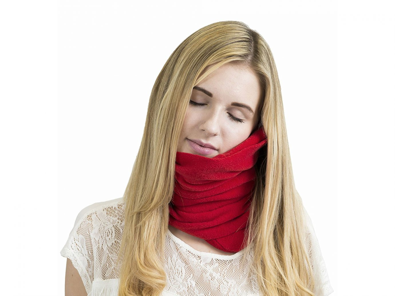 Red Trtl Neck Support Travel Pillow