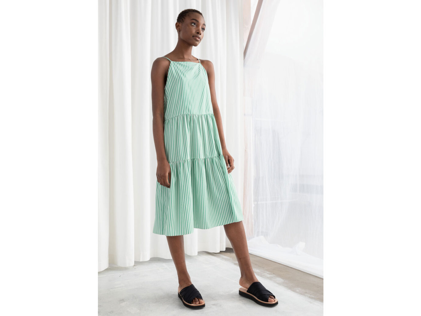 & Other Stories Gathered Pleated Midi Dress