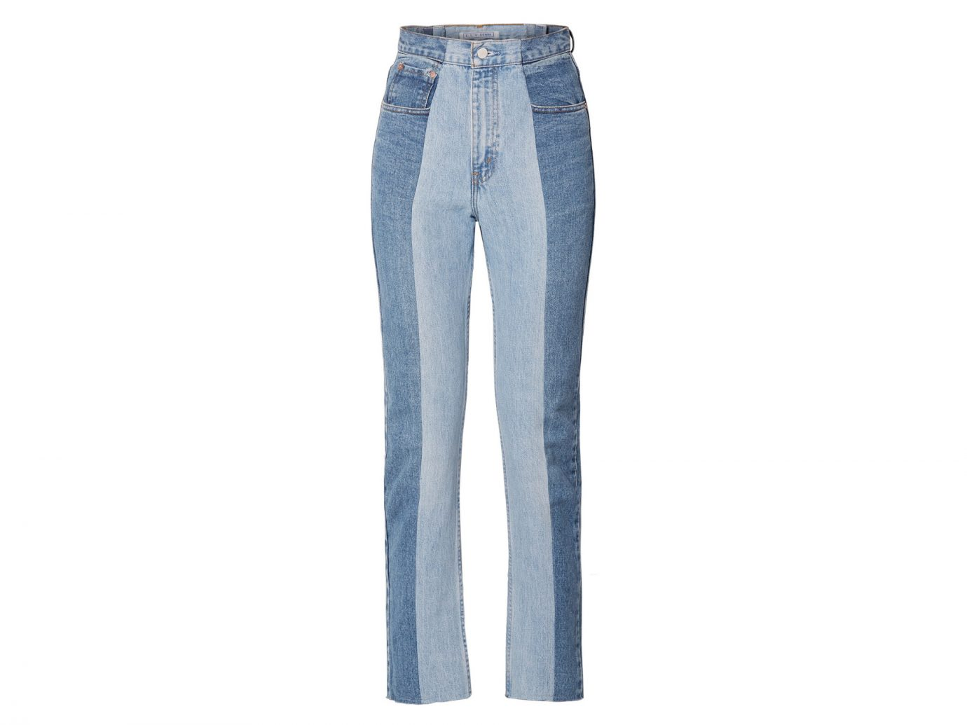 E.L.V. DENIM The Twin two-tone high-rise straight-leg