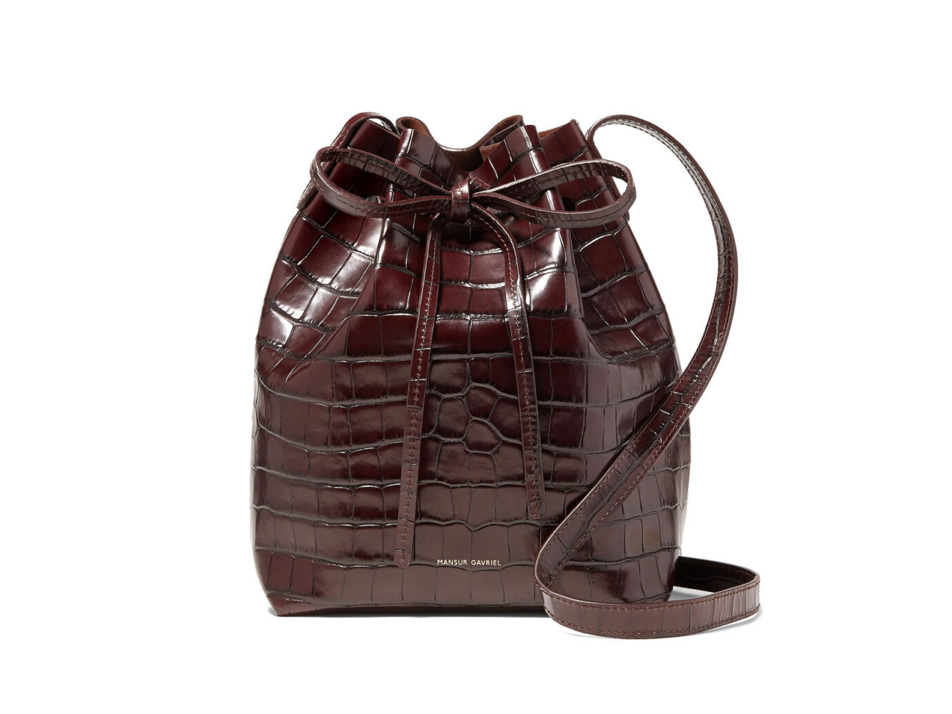 Mansur Gavriel Mini croc-effect leather bucket bag