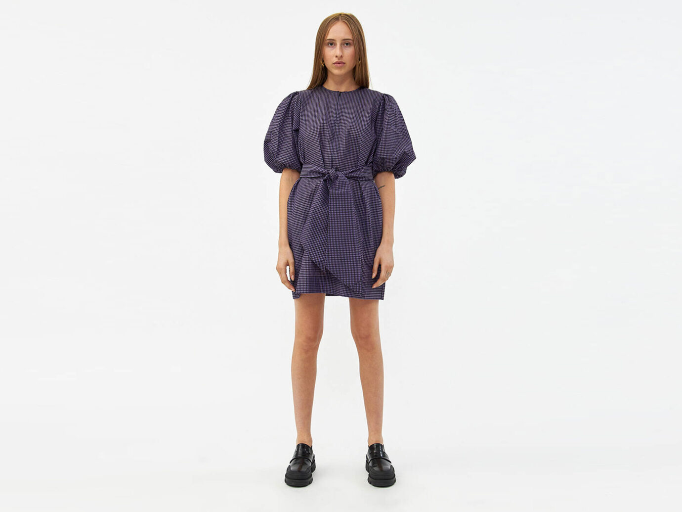 Ganni Seersucker Check Dress in Deep Lavender
