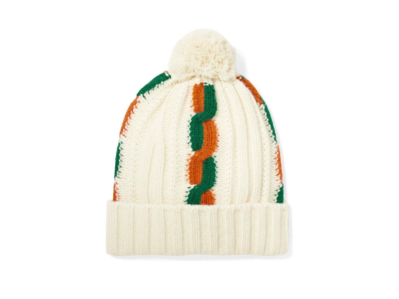 Gucci Pompom-embellished striped cable-knit wool beanie