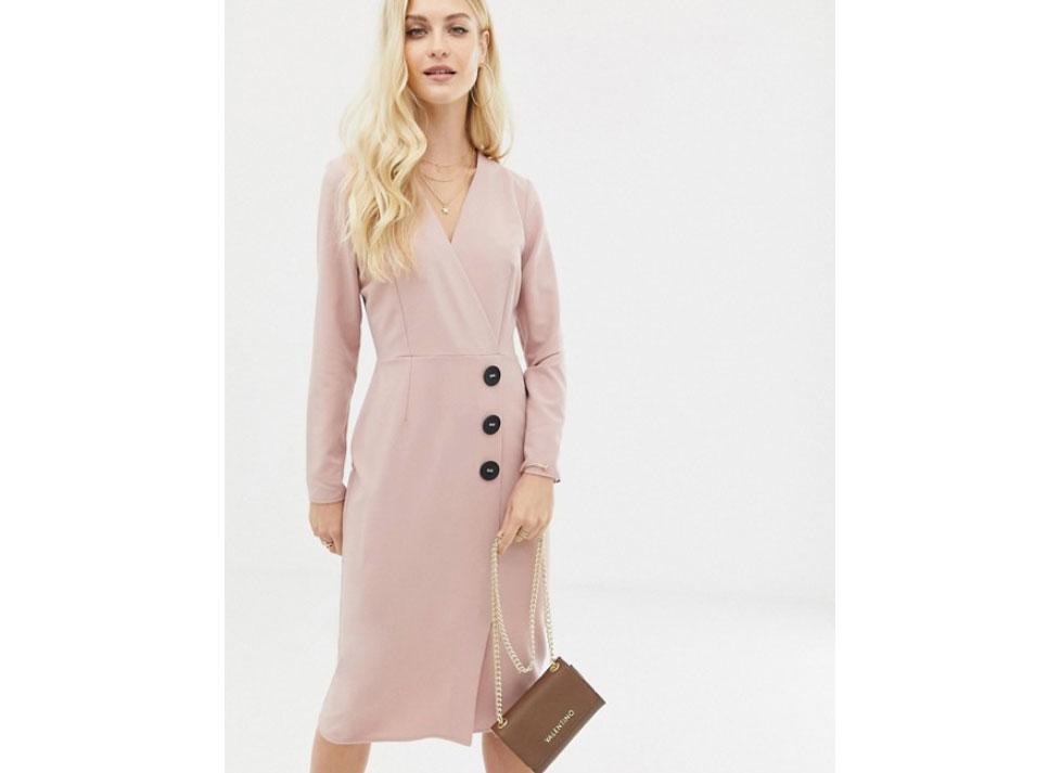 ASOS DESIGN Wrap Front Midi Dress