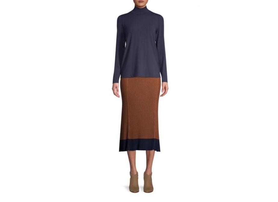 SAKS Eileen Fisher Ribbed Midi Skirt