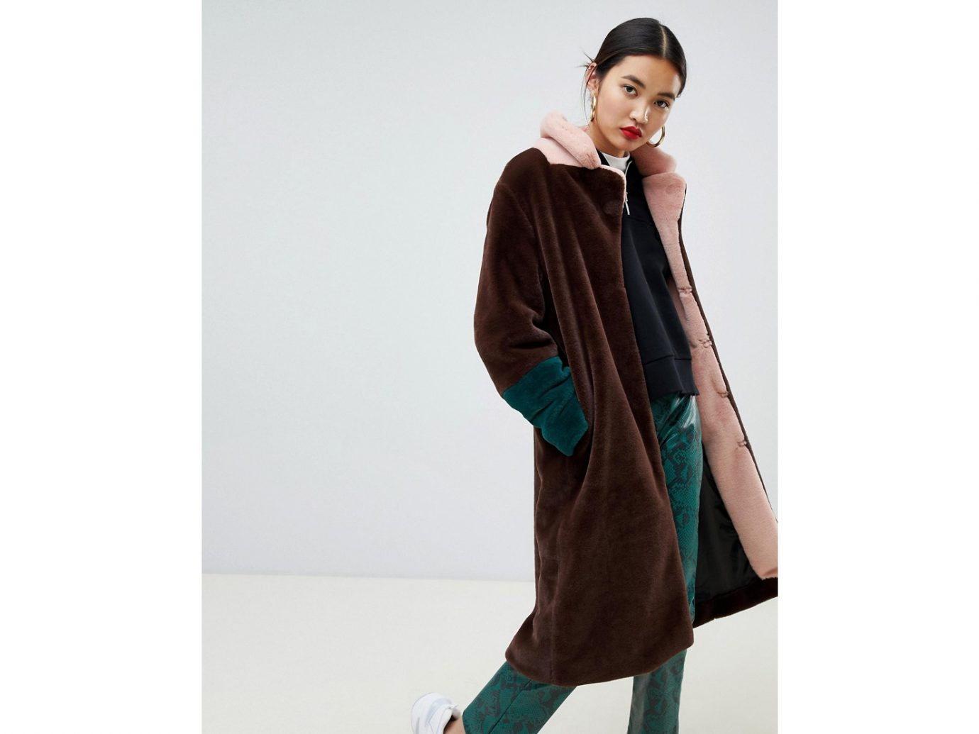 Asos Na-kd faux fur midi color block coat in brown