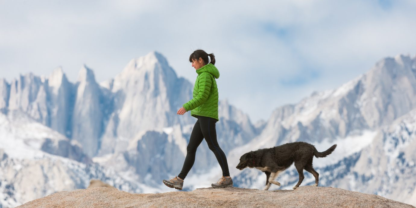 Women With Her Dog In The Mountains Hiking