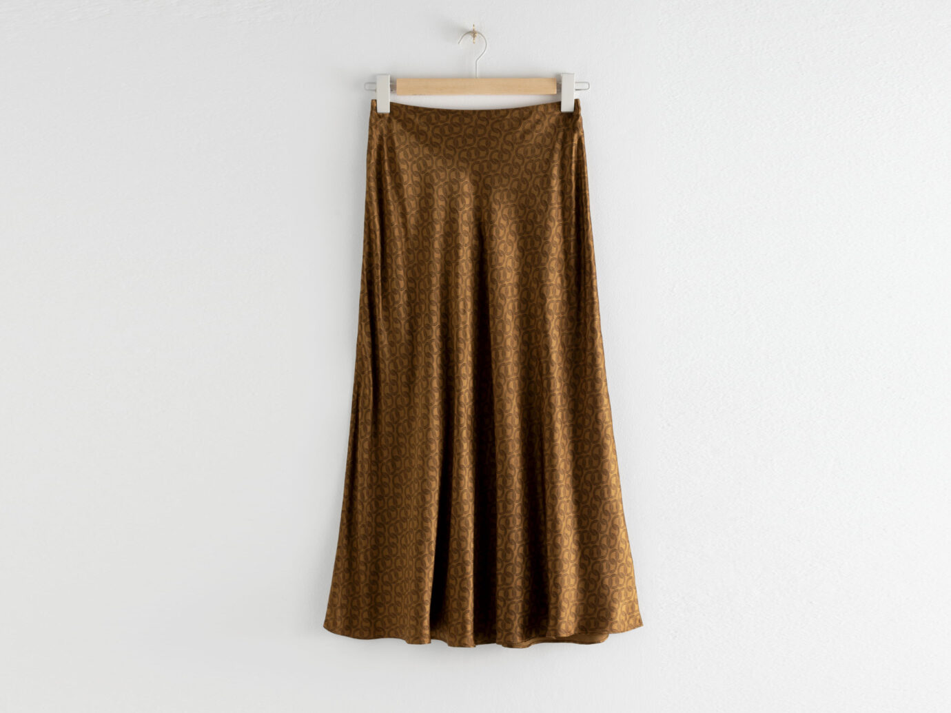 & Other Stories Chain Print Satin Midi Skirt