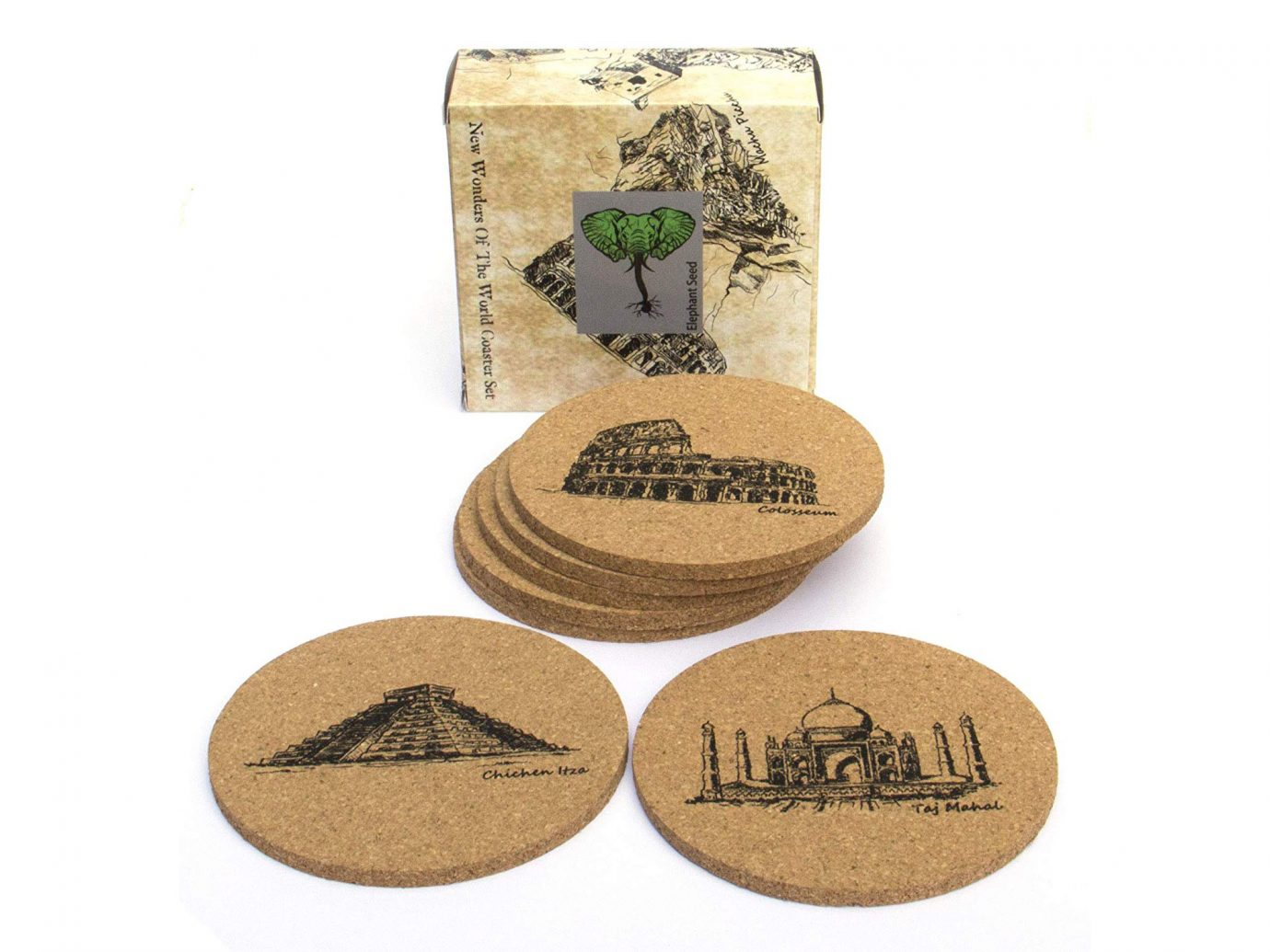 7 Wonders Of The World Natural Eco Friendly Absorbent Cork Coasters