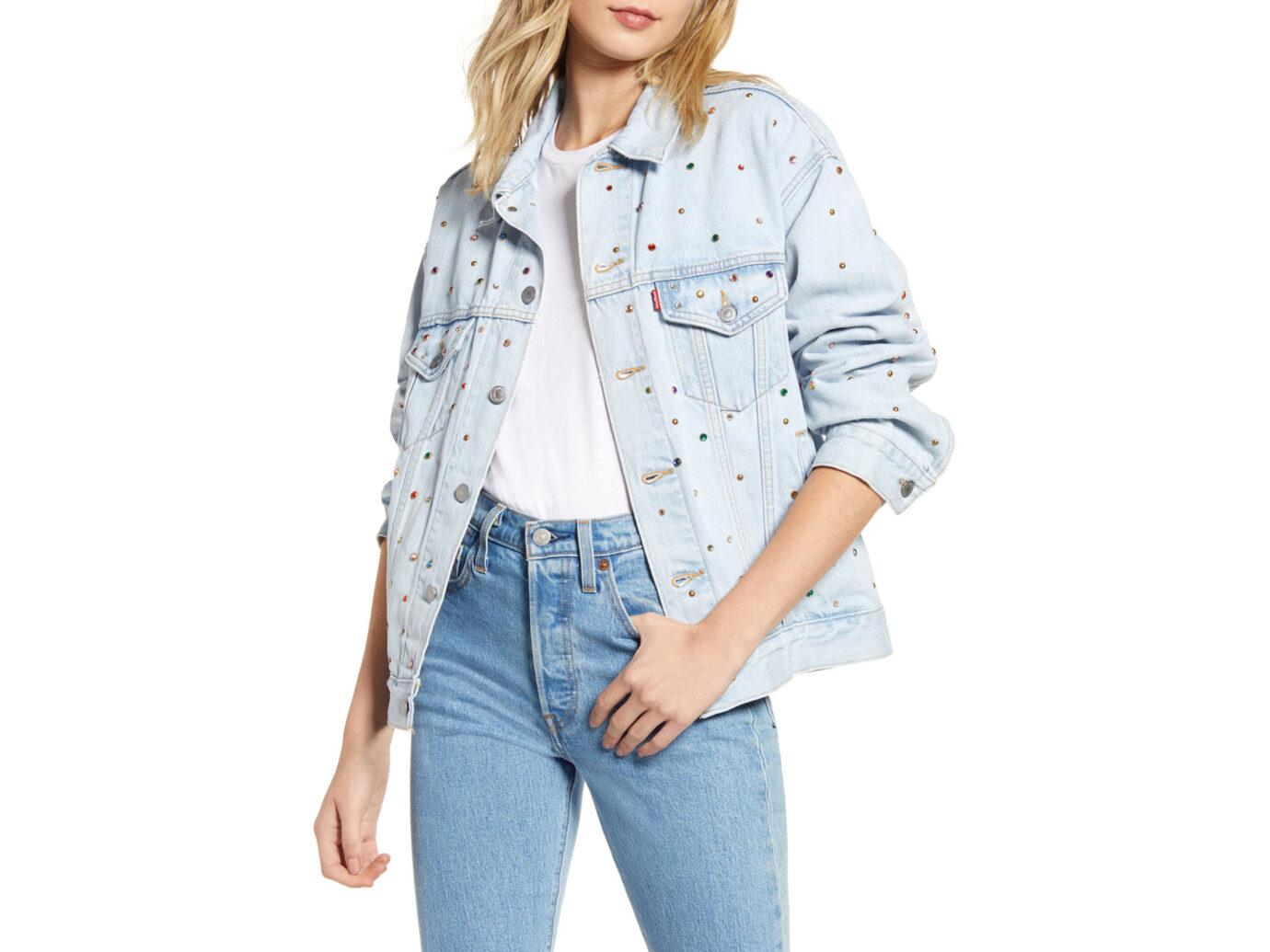 Levi's Showgirl Crystal Embellished Dad Denim Trucker Jacket