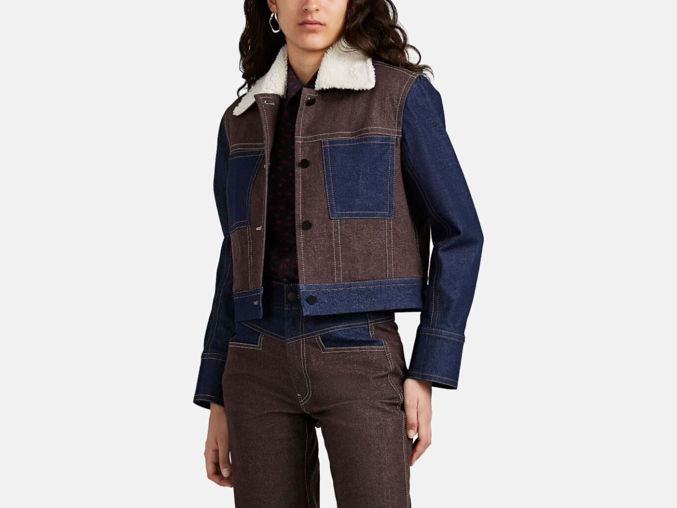 Colovos Sherpa-Lined Crop Denim Jacket