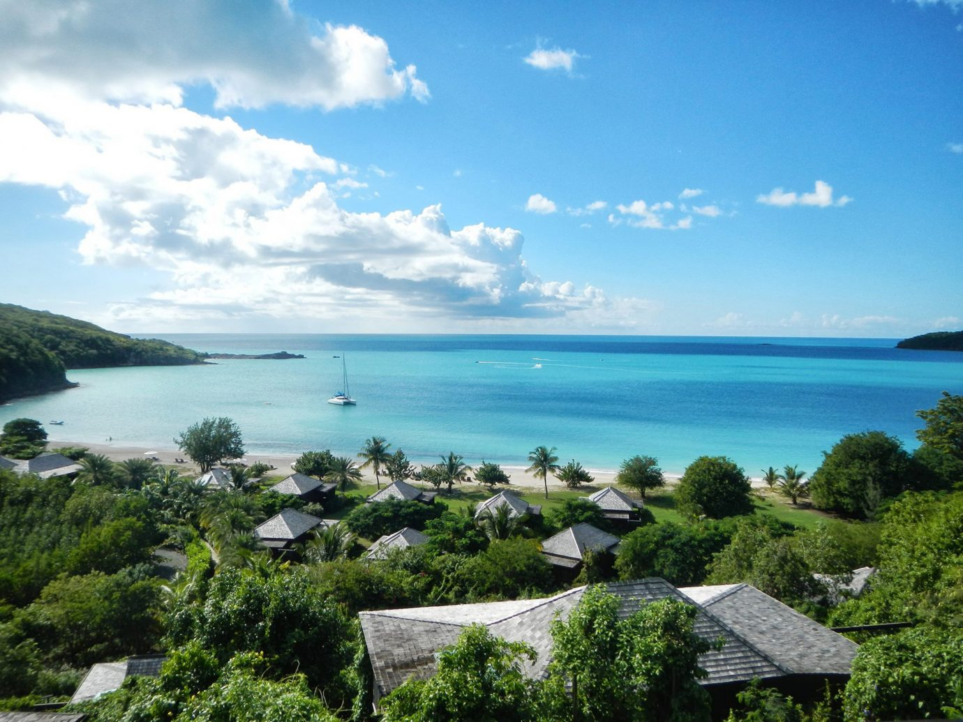 Adult-only All-inclusive Beach Beachfront Eco Grounds Hotels Luxury Play Romance Romantic Trip Ideas sky water outdoor tree Nature landform geographical feature Sea body of water Coast Ocean caribbean vacation horizon shore bay Island Lagoon islet tropics archipelago cove cape overlooking beautiful promontory lush hillside