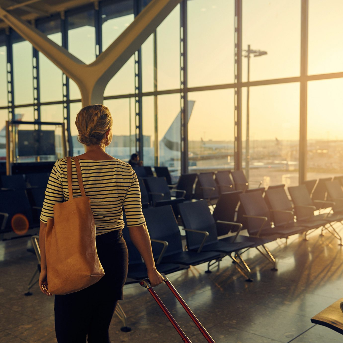 airport terminal Flights News person standing sunlight fun girl angle