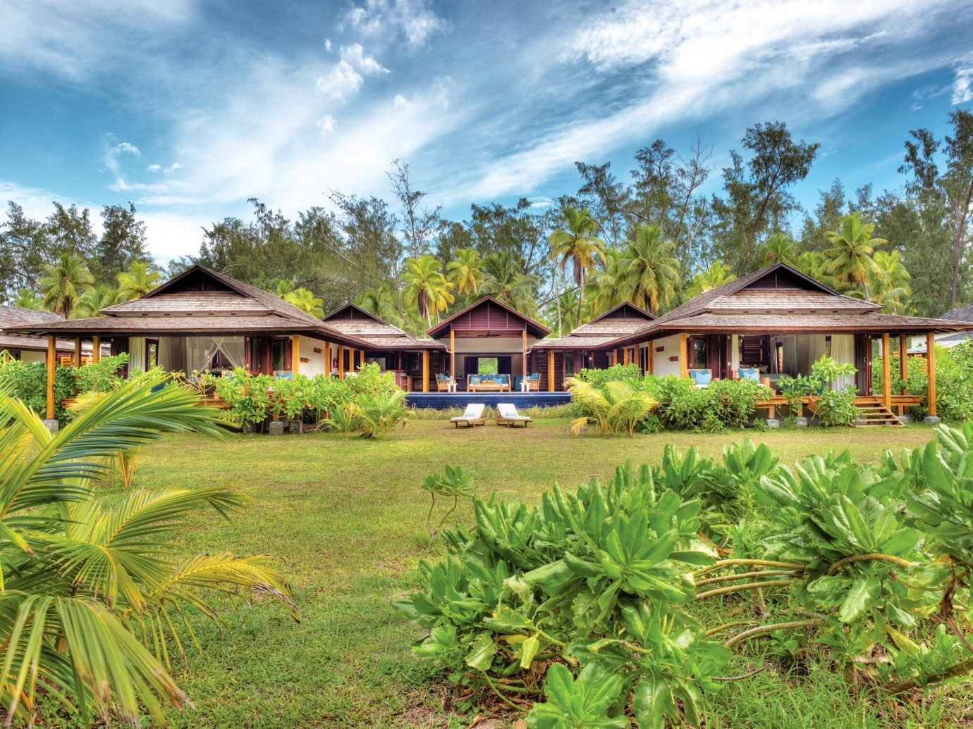 Beach Hotels grass outdoor tree sky property Resort estate house green home real estate eco hotel plantation Jungle Villa cottage old plant lush Garden