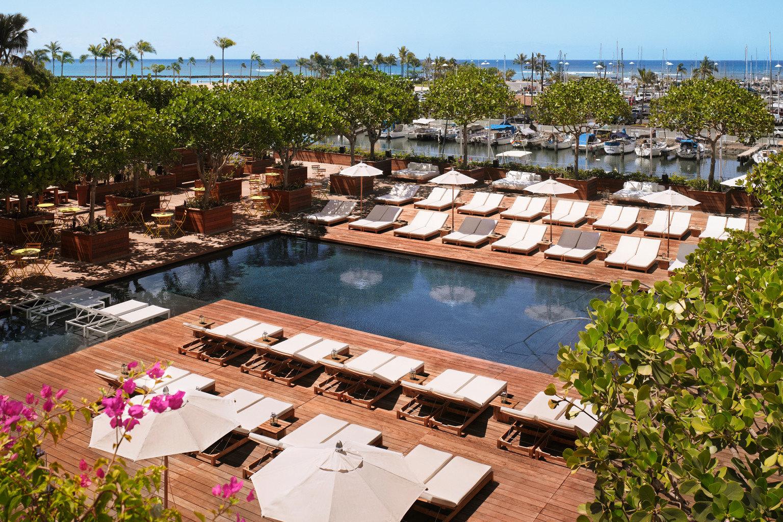 Bar Boutique Hotels Deck Hawaii Honolulu Hotels Island Lounge Modern Pool Scenic views outdoor sky tree leisure property swimming pool Resort estate Villa backyard colorful several