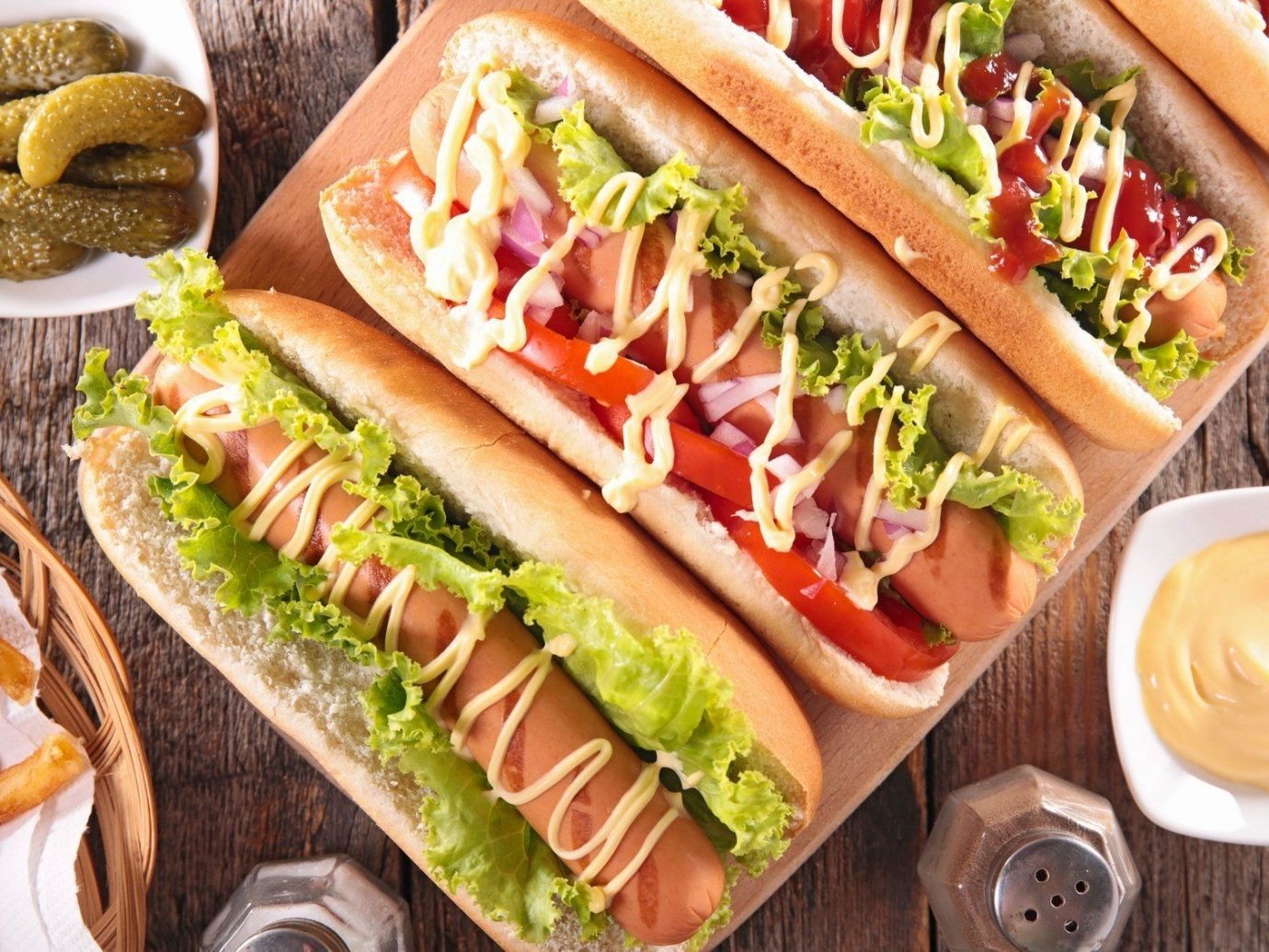 Food + Drink Dog hot snack food sandwich food dish bánh mì submarine sandwich hot dog couple meat produce lunch toppings