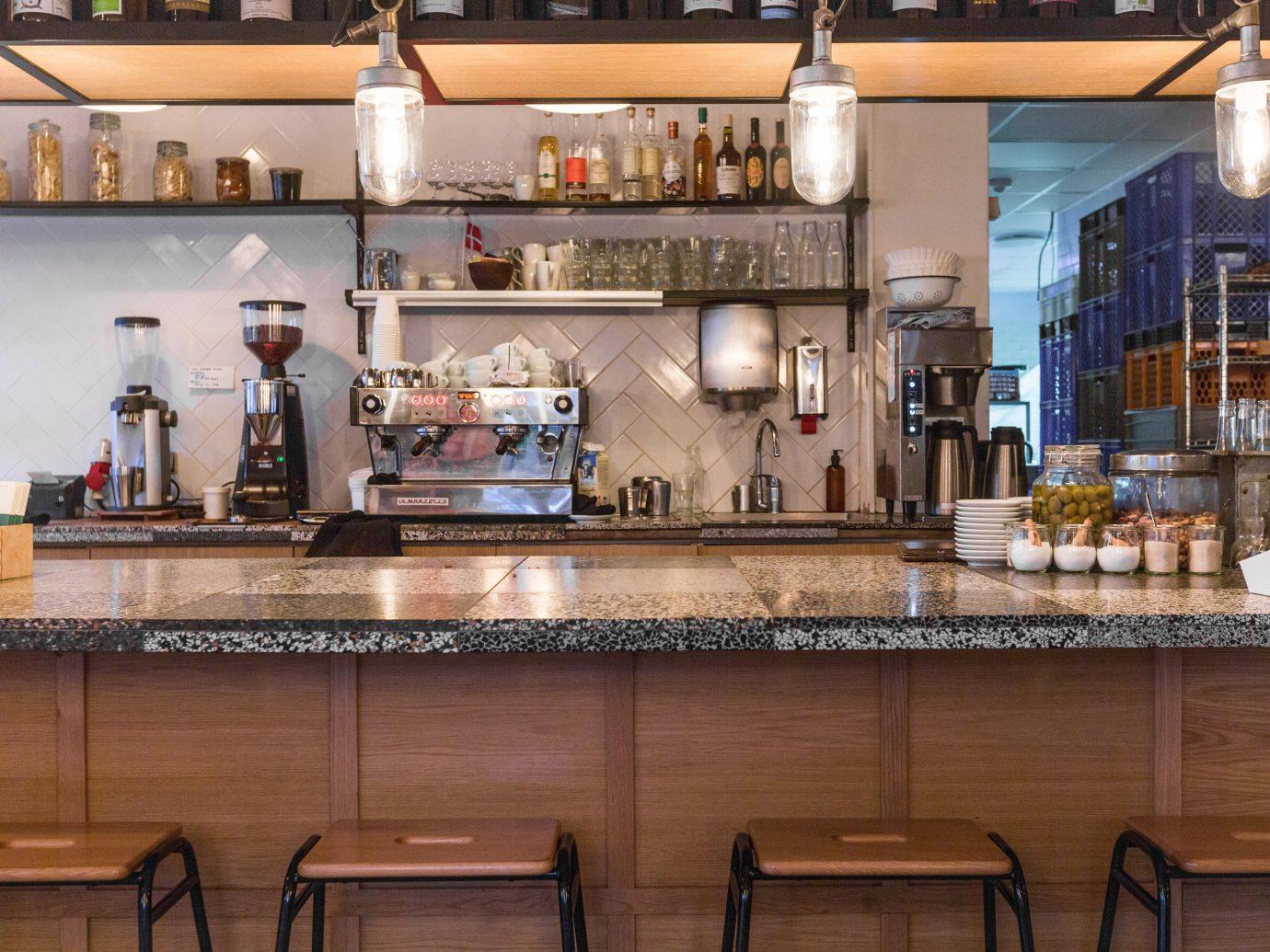 Copenhagen Denmark Trip Ideas indoor Kitchen countertop counter interior design restaurant café Bar table cluttered Island