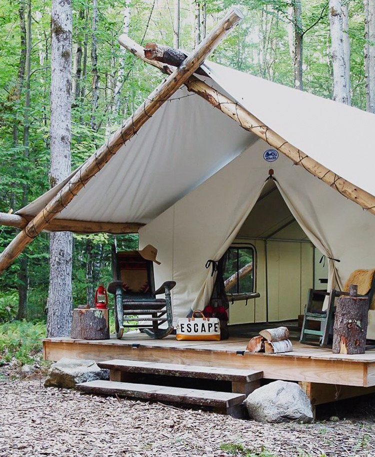Glamping Luxury Travel Trip Ideas tent hut camping camp log cabin