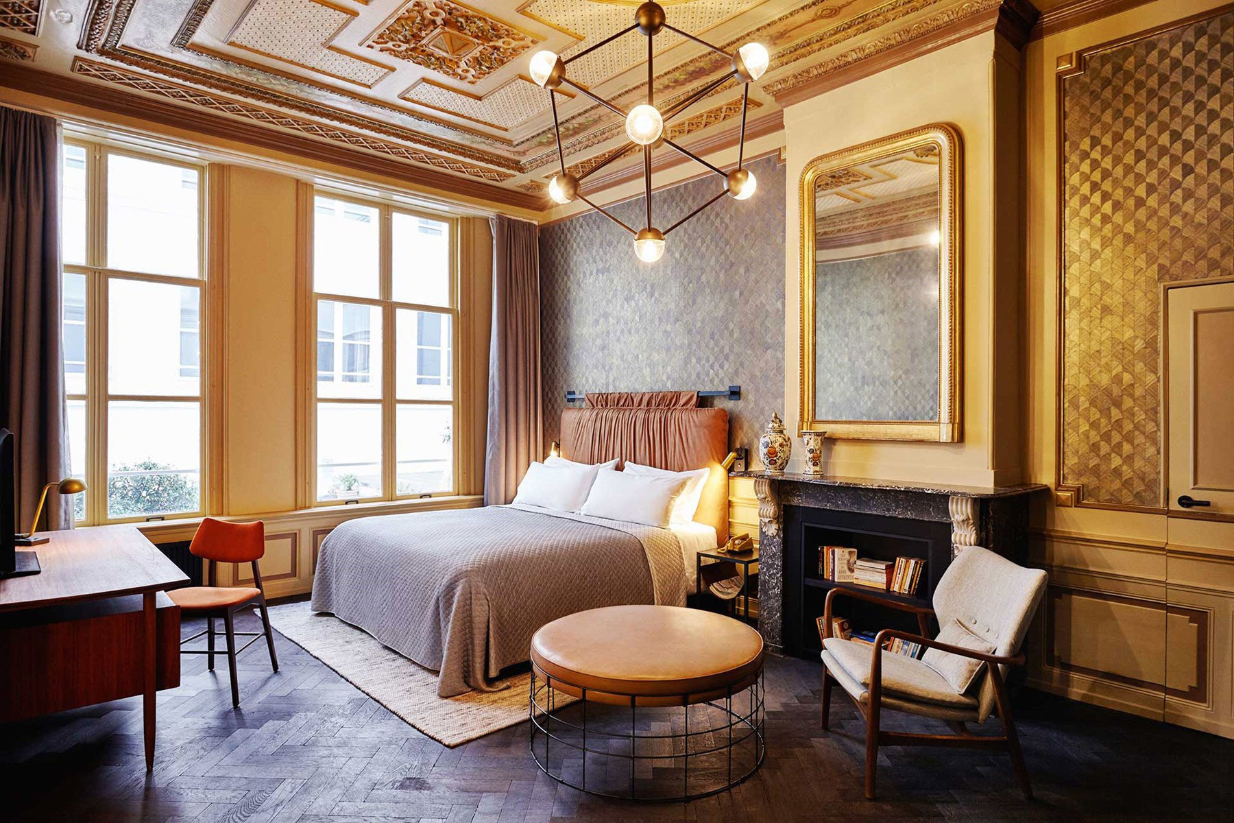 Amsterdam Hotels Style + Design The Netherlands Travel Shop window indoor floor room property living room estate home Living Suite ceiling hardwood interior design cottage real estate farmhouse mansion wood Villa wood flooring Bedroom furniture area