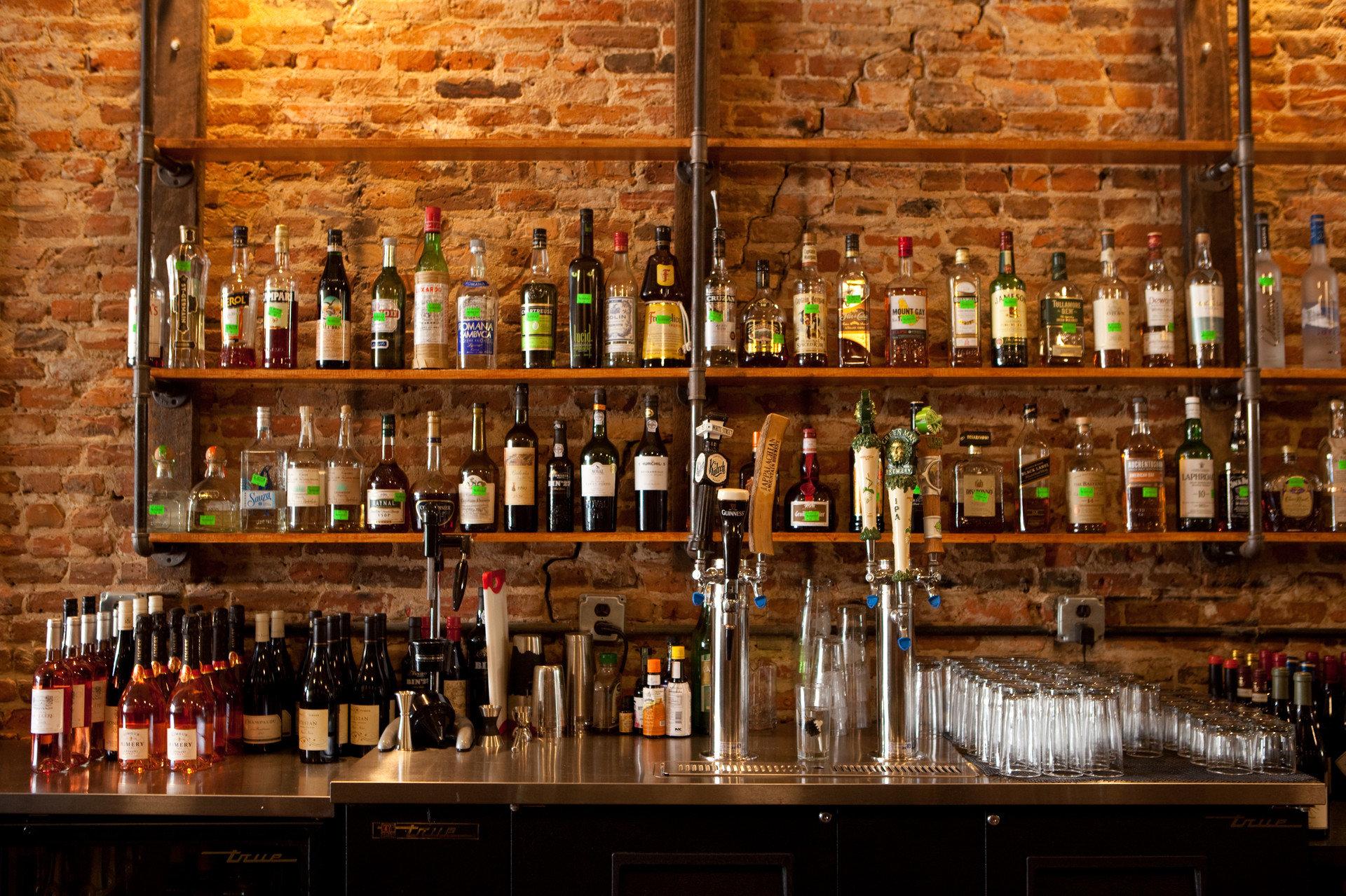 Trip Ideas wine bottle indoor Bar Drink shelf counter distilled beverage tavern alcohol several