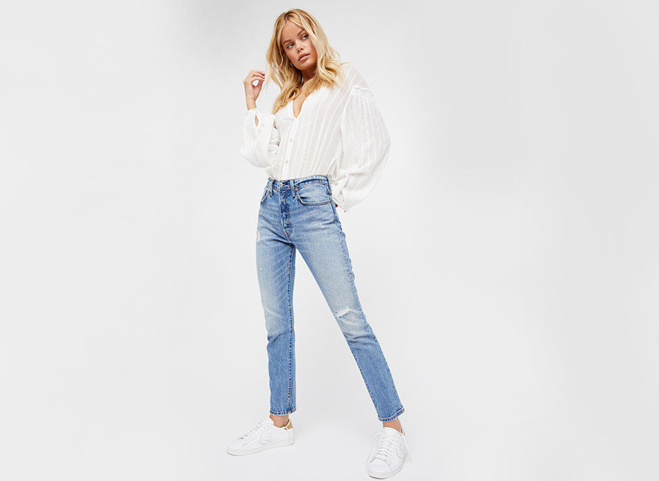 Style + Design person clothing jeans denim waist shoulder fashion model standing trouser joint trousers trunk sleeve abdomen neck electric blue pocket