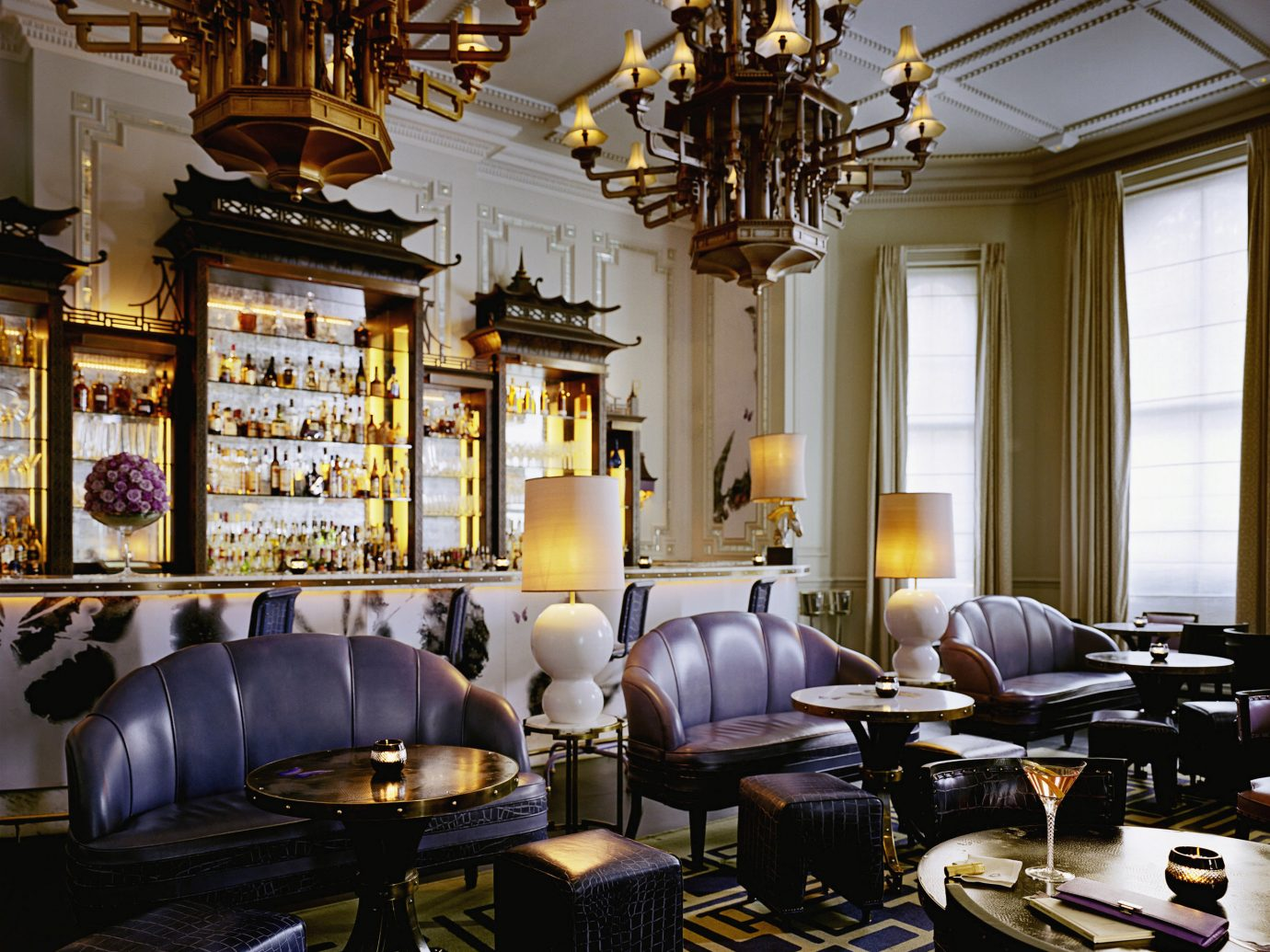 Bar Dining Drink Eat Elegant Food + Drink Historic Luxury indoor window room Living building interior design dining room living room estate Lobby home lighting restaurant Design furniture cluttered several