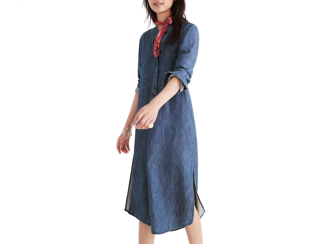 Style + Design clothing person denim jeans day dress wearing dress fashion model neck posing sleeve button