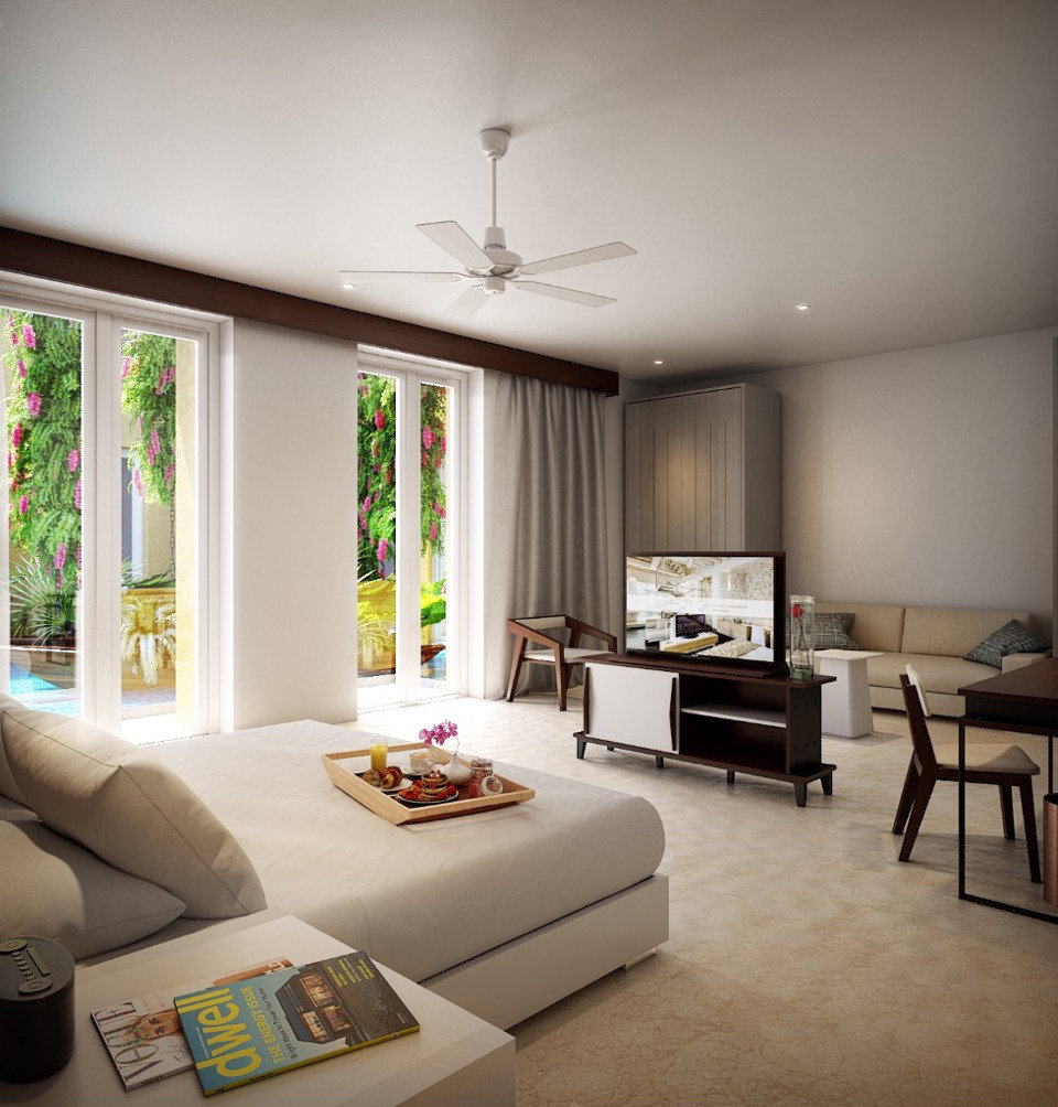 Hotels indoor wall floor Living sofa room ceiling living room window property home house interior design estate condominium Bedroom real estate Design furniture window covering apartment flat area