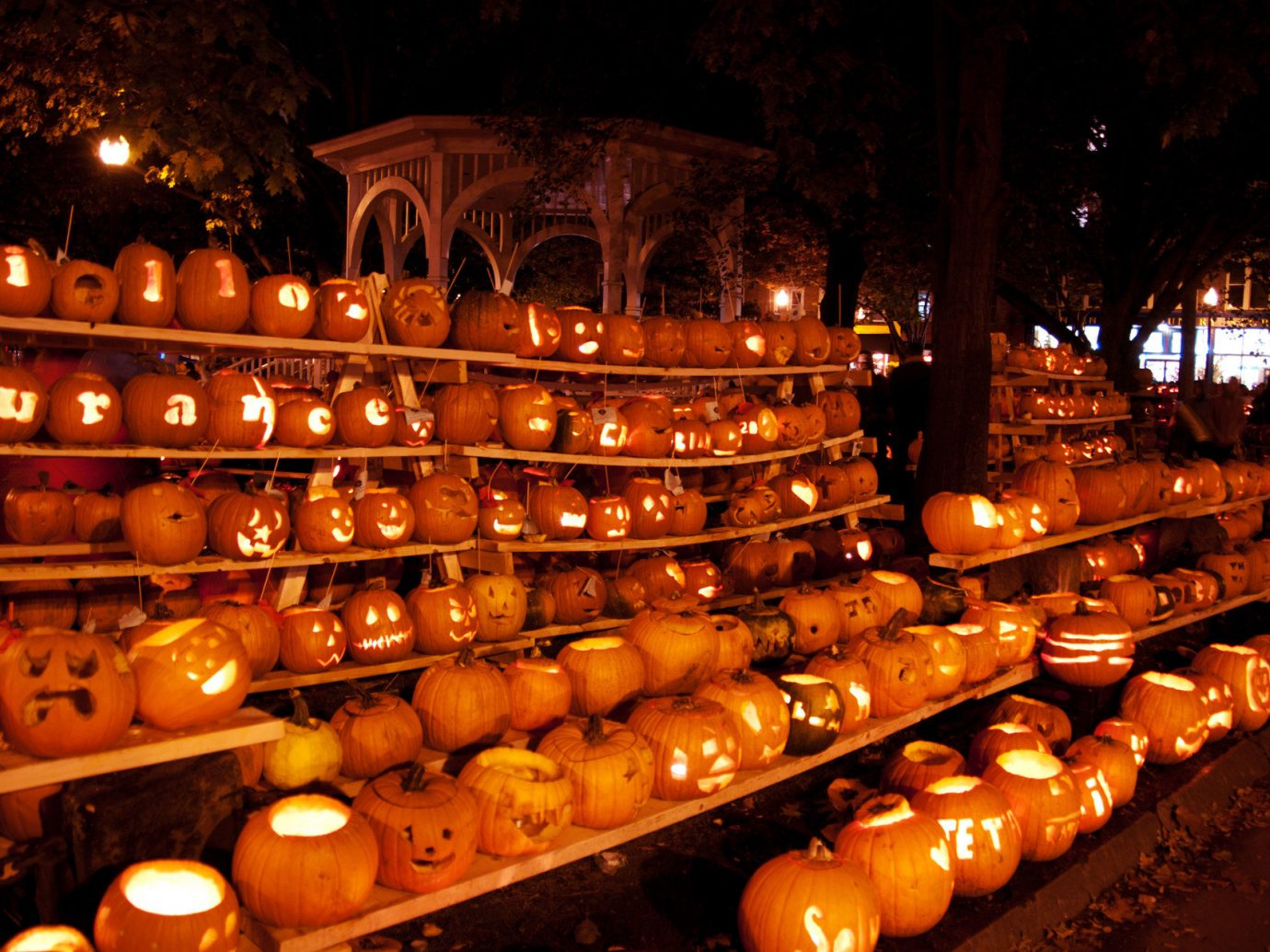 exhibit festive glow halloween holiday lights night night lights pumpkins Trip Ideas outdoor evening bunch several
