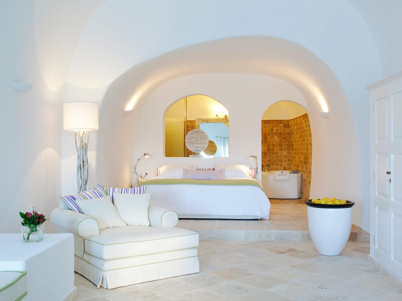 Bedroom Elegant Greece Hotels Luxury Modern Santorini Suite wall room property living room white estate interior design floor furniture bed home real estate Villa cottage ceiling