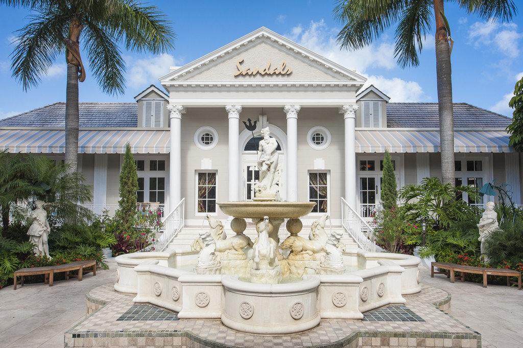 Fountain in front of Sandals Royal Bahamian