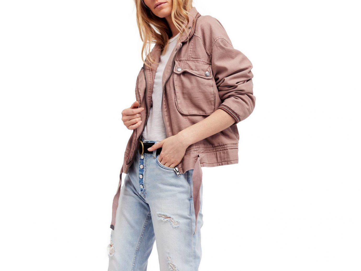 Packing Tips Spring Travel Style + Design Travel Shop person clothing shoulder jacket fashion model sleeve coat beige jeans neck pocket trouser