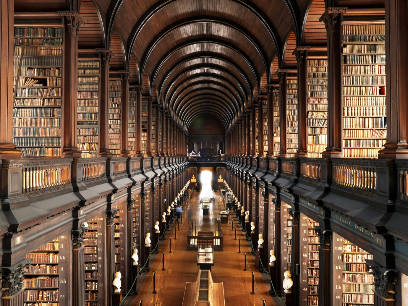 City Cultural Historic Offbeat building indoor library Architecture aisle arcade wooden symmetry tourist attraction lots lined several