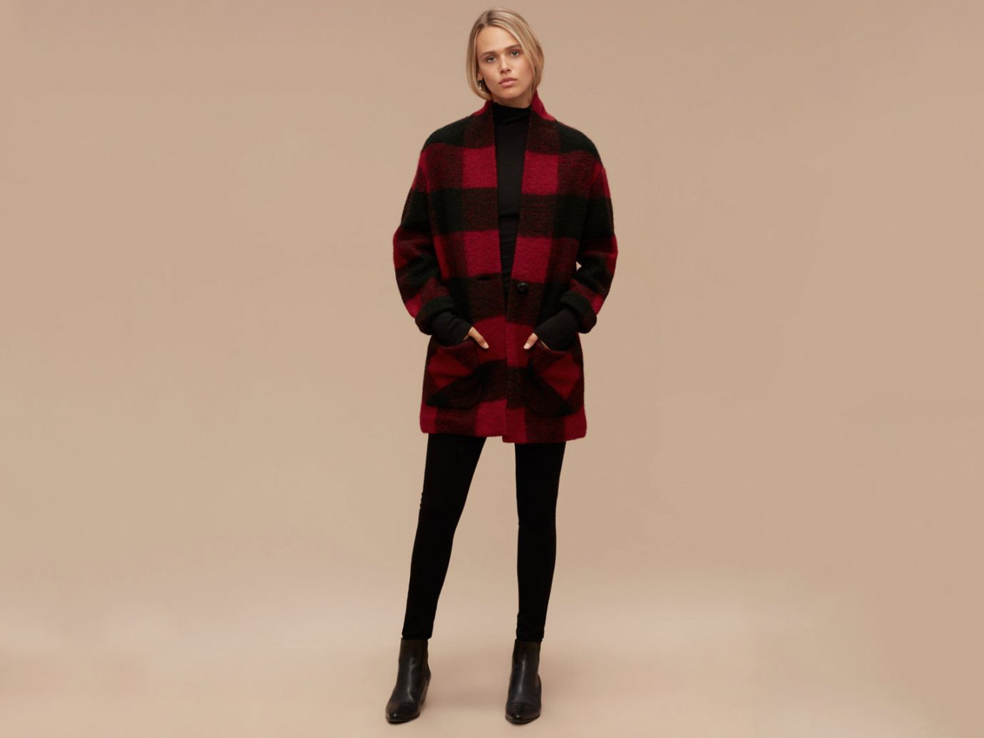 Style + Design clothing red standing pattern tartan sleeve Design fashion outerwear dress textile photo shoot wool posing