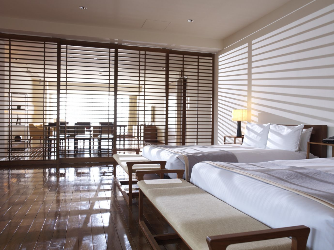 Hotels Japan Tokyo window indoor floor ceiling room bed property interior design hotel condominium window covering real estate Suite estate Bedroom furniture several