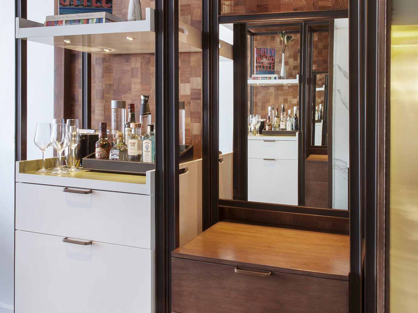 Hotels indoor floor room cabinetry furniture wood door cupboard interior design home lighting display case Design cabinet
