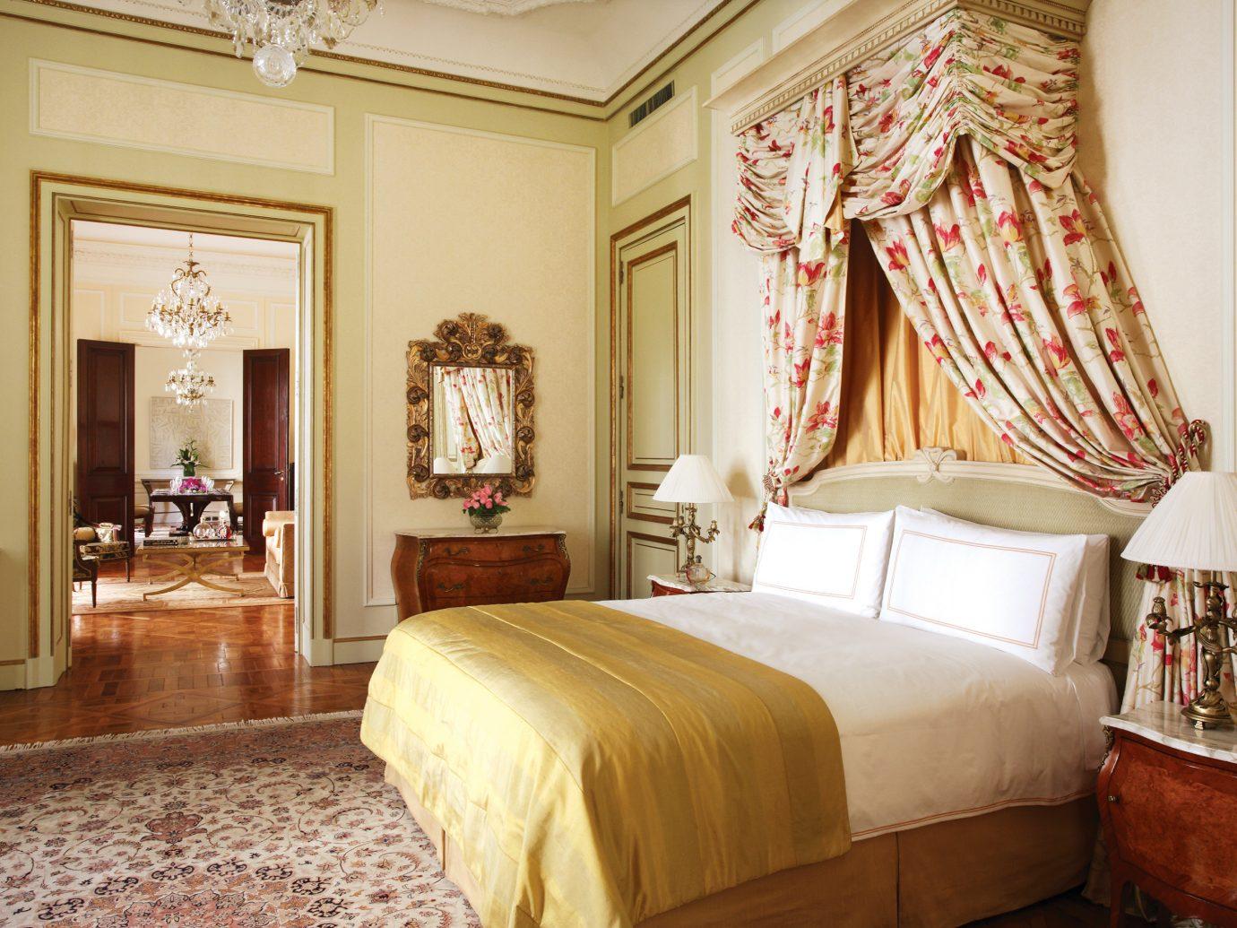Bedroom Elegant Historic Hotels Romance Style + Design Suite indoor bed wall floor room property interior design estate hotel bed sheet living room real estate decorated