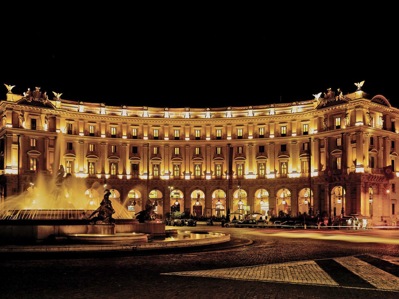 Boutique Hotels City Elegant Grounds Italy Luxury Travel Rome Night Landmark Lit Plaza