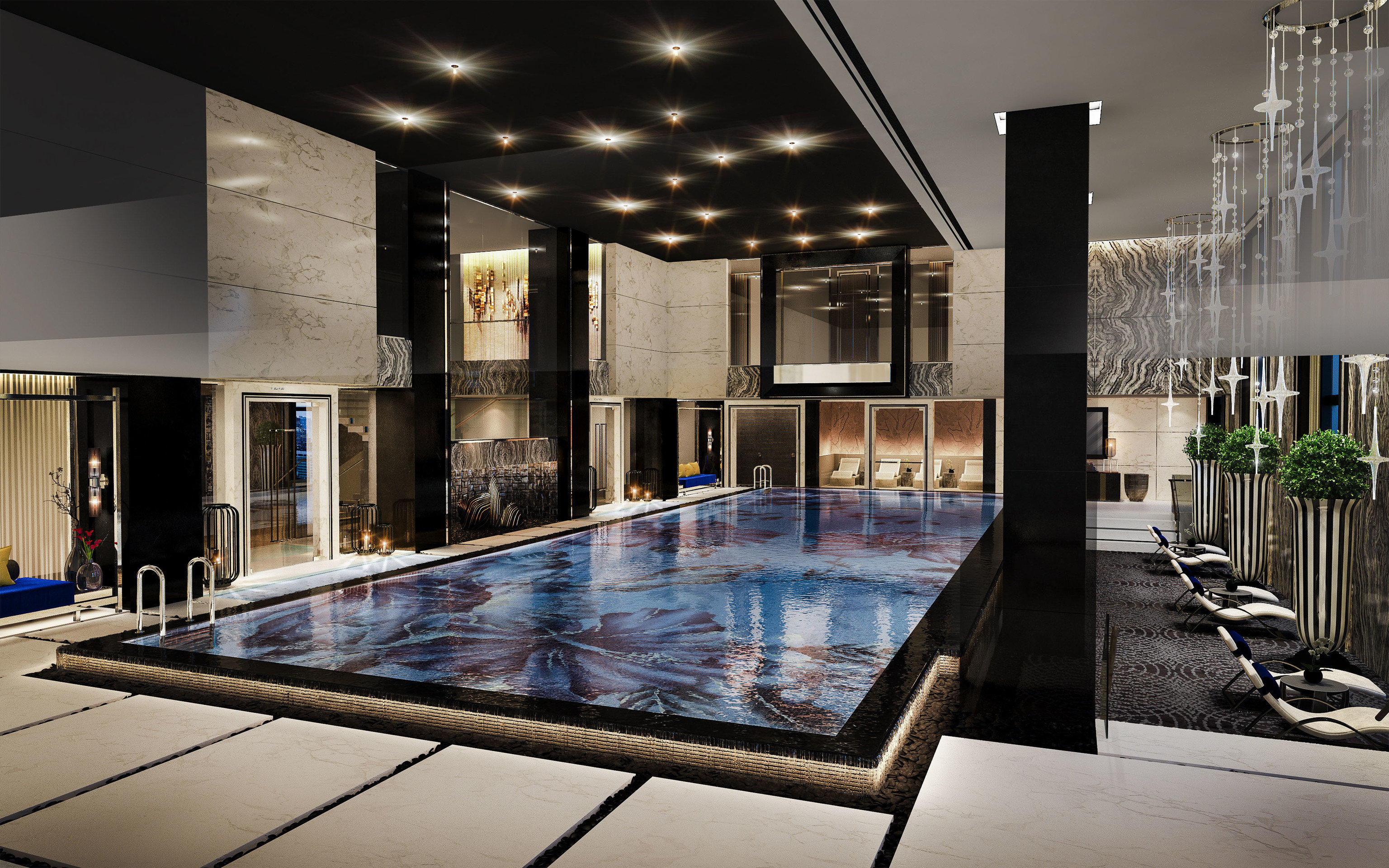 Boutique Hotels Luxury Travel ceiling indoor interior design Architecture condominium apartment Lobby swimming pool real estate daylighting penthouse apartment house estate amenity