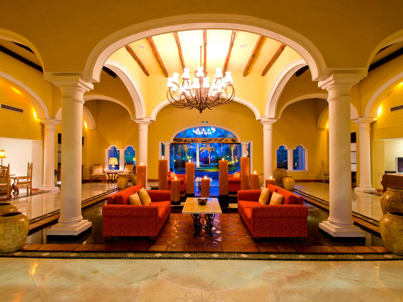 All-Inclusive Resorts Elegant Hip Hotels Living Lounge Luxury Modern Tropical indoor yellow building Lobby estate palace interior design function hall ballroom