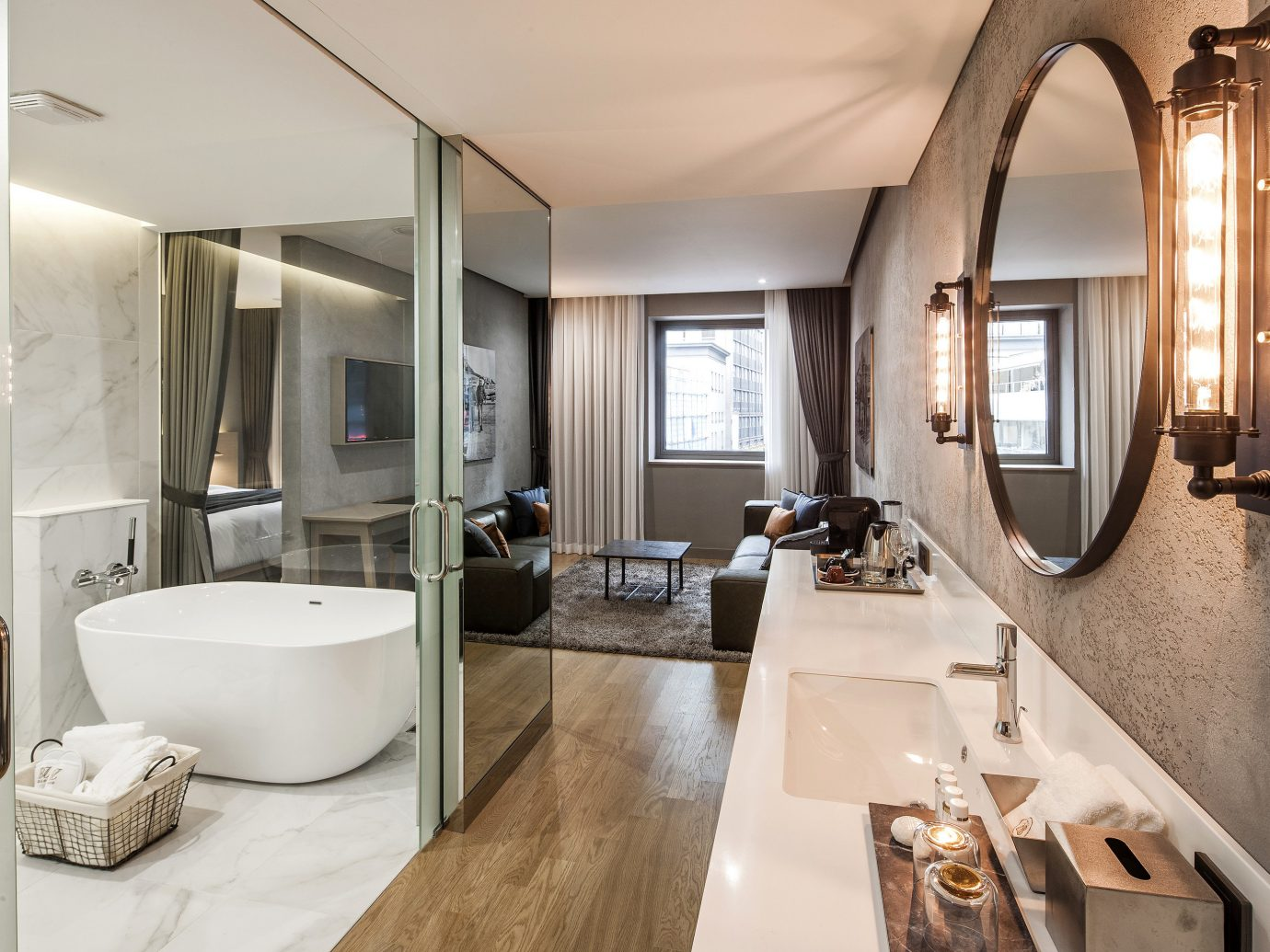 Hotels Luxury Travel indoor wall bathroom window floor room interior design ceiling sink Suite real estate estate interior designer Bath tub decorated