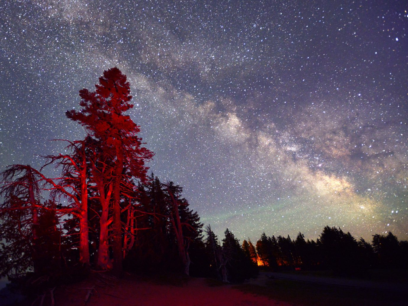 Trip Ideas tree outdoor sky night star red astronomical object galaxy astronomy outdoor object Night Sky