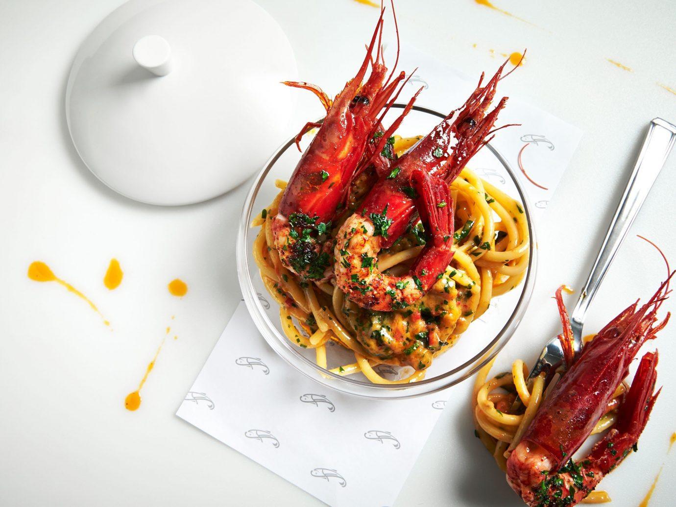 Food + Drink food plate dish cuisine meal produce spaghetti vegetable sense Seafood italian food european food crayfish arranged piece de resistance