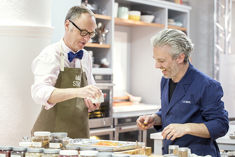 Two men cooking at Christopher Kimball's Milk Street.